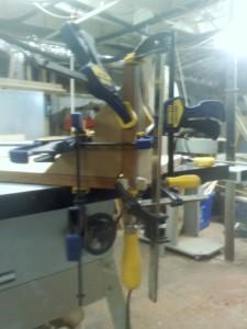 glue up of 3 way loose tenon mitre